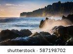 Lava Rock Shoreline With...