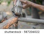 welding steel welding sparks... | Shutterstock . vector #587206022