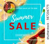 summer sale elegant banner. top ... | Shutterstock .eps vector #587206775