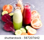 vegetables detox smoothie... | Shutterstock . vector #587207642