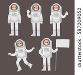 set  of astronaut character in... | Shutterstock .eps vector #587209052