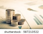 row of coins  and business... | Shutterstock . vector #587213522