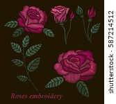 roses embroidery set. pink... | Shutterstock .eps vector #587214512