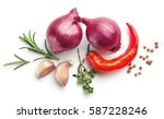 composition of red onions ... | Shutterstock . vector #587228246