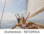 beautiful women friends... | Shutterstock . vector #587239316