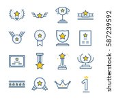 award and prize icons set | Shutterstock .eps vector #587239592