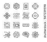 digital chip processor line... | Shutterstock .eps vector #587239598