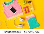 sport equipment and clothes... | Shutterstock . vector #587240732