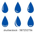 blue isolated glossy droplet... | Shutterstock . vector #587252756