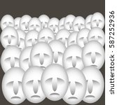 many similar faces in crowd in... | Shutterstock .eps vector #587252936