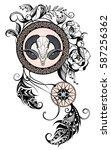 buffalo skull.dream catcher | Shutterstock .eps vector #587256362