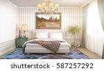 bedroom interior. 3d...   Shutterstock . vector #587257292