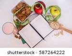 healthy food with notepad for... | Shutterstock . vector #587264222