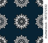golden snowflake simple... | Shutterstock .eps vector #587272532