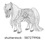 doodle pony page for adult... | Shutterstock .eps vector #587279906