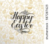 greeting card with easter... | Shutterstock .eps vector #587287625