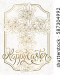happy easter greeting card with ... | Shutterstock .eps vector #587304992