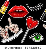 pattern of stickers embroidery | Shutterstock .eps vector #587320562
