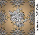 golden outline floral decor.... | Shutterstock .eps vector #587335016