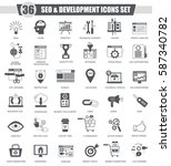 seo and development black icon ... | Shutterstock . vector #587340782