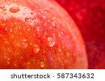 red wet apple with big droplet  ... | Shutterstock . vector #587343632