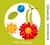 pollen allergy. vector... | Shutterstock .eps vector #587349602