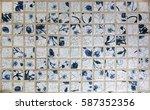 a piece of an old blue ceramic... | Shutterstock . vector #587352356
