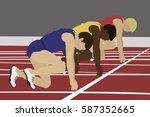 athletes on the starting blocks....   Shutterstock .eps vector #587352665