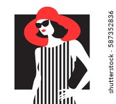 fashion woman in a striped... | Shutterstock .eps vector #587352836