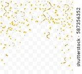 many falling golden confetti... | Shutterstock .eps vector #587356352