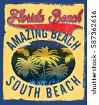 florida summer tee graphic... | Shutterstock .eps vector #587362616