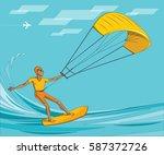 kite surfing. man in sunglasses ... | Shutterstock .eps vector #587372726