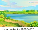 summer landscape with a pond... | Shutterstock .eps vector #587384798
