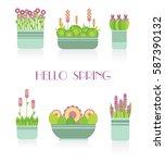 collection of indoor plants in... | Shutterstock .eps vector #587390132