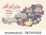 illustrated map of austria....   Shutterstock .eps vector #587395205