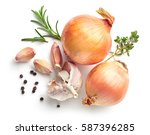 onions  garlic and spices... | Shutterstock . vector #587396285