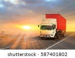 generic big trucks speeding on... | Shutterstock . vector #587401802
