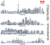 Stock vector vector illustrations of canadian cities toronto montreal vancouver and ottawa skylines in tints 587409812