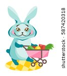 rabbit with a trolley and... | Shutterstock .eps vector #587420318