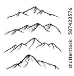 mountain set with hand drawn... | Shutterstock .eps vector #587423576