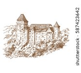 the castle of lichtenstein.... | Shutterstock .eps vector #587423642