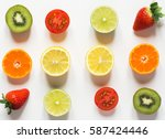 red orange and greens  tomato ... | Shutterstock . vector #587424446