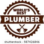 world's best plumber emblem | Shutterstock .eps vector #587426846