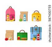school lunch box and backpack... | Shutterstock .eps vector #587430755