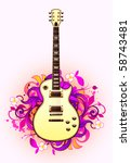 abstract with guitar on a light ... | Shutterstock .eps vector #58743481