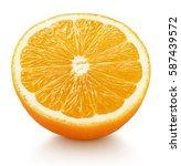 Small photo of Ripe half of orange citrus fruit isolated on white background. Orange fruit half with clipping path