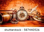 vintage antique pocket watch.... | Shutterstock . vector #587440526