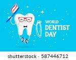 world dentist day. vector... | Shutterstock .eps vector #587446712