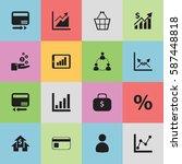 set of 16 analytics icons....