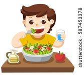 a little boy happy to eat salad.... | Shutterstock .eps vector #587453378